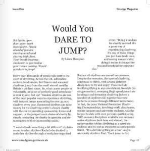 Dare to Jump, Smudge Magazine