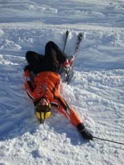 Fallen ski beginner